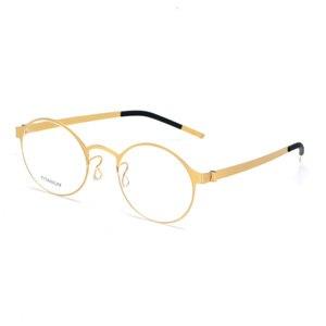 Image 3 - טהור בעבודת יד טיטניום משקפיים מסגרת גברים בציר עגול לא בורג Eyewear מרשם אופטי מותג משקפיים מסגרת נשים