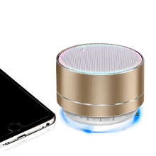 6 Colors Bluetooth Speaker Metal Mini Portable Wireless 5 Hours Playtime 3W A10 Stereo Small Steel Gun