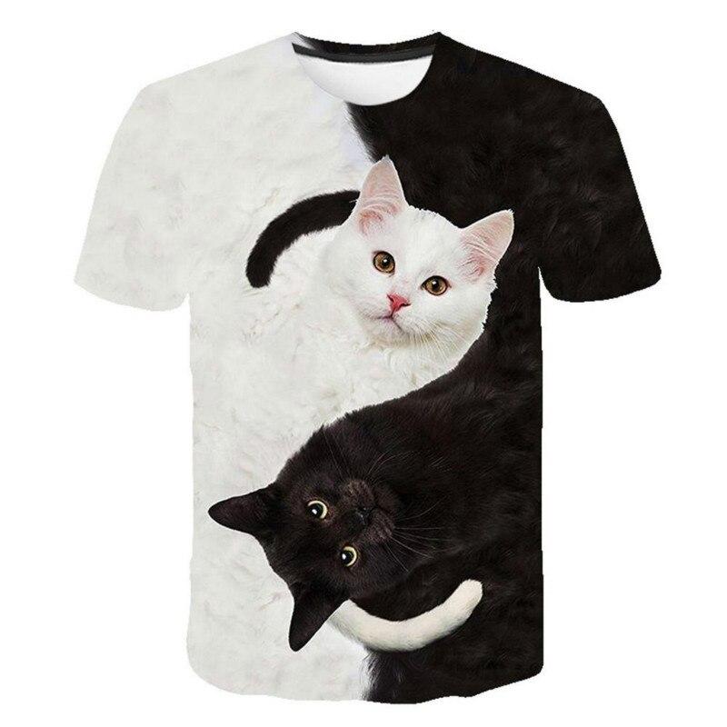 Camiseta a la moda para hombres y mujeres, camisa con dos estampado de gatos en 3d, camisetas de manga corta para hombre y mujer