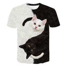 Camiseta a la moda para hombres y mujeres de camisa con dos estampado de gatos es 3d y camisetas de manga corta para hombre y mujer