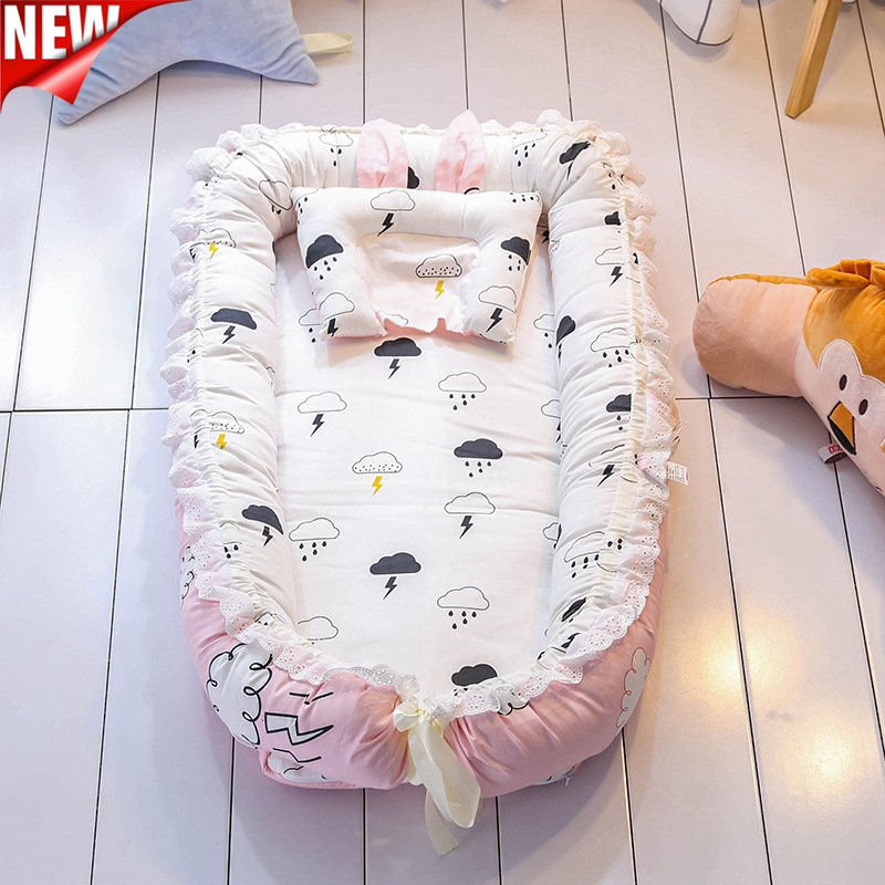 Infant Mobile Portable Crib Baby Nest Bed Portable Crib Travel Bed Baby Toddler Cotton Cradle For Newborn Baby Bassinet Bumper