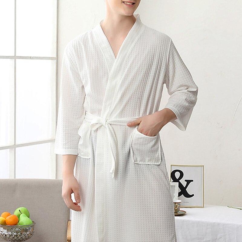Women/Men Kimono Bathrobe Sleepwear Spa Robe Nightwear Unisex Nightgown FEA889