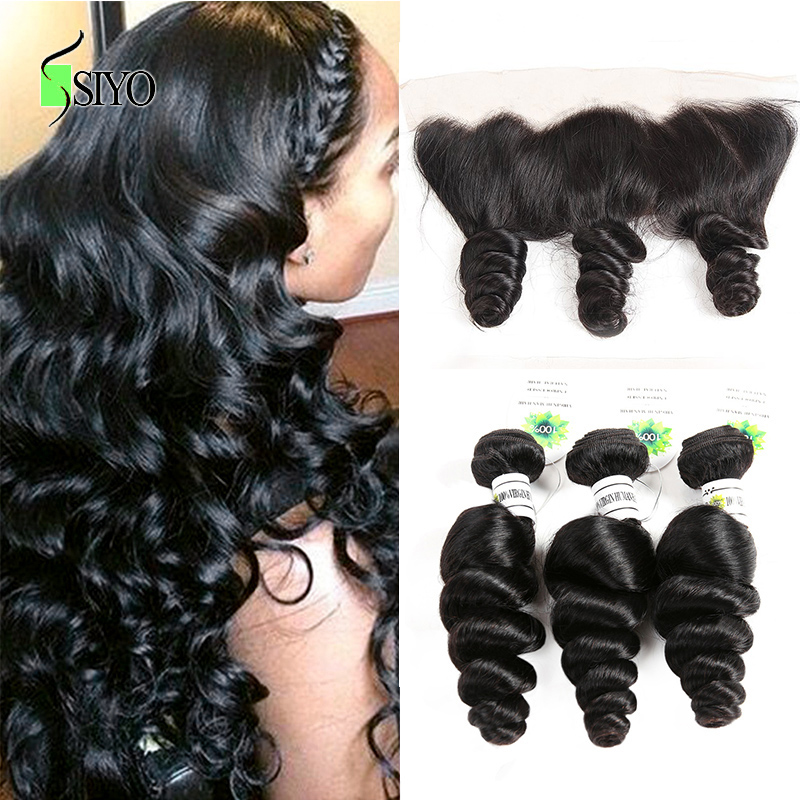 Siyo Brazilian Loose Wave 8-26 Inch M 3 Bundles With Closure Remy Human Hair Bundles With Lace Frontal 13*4 Inch Ear To Ear