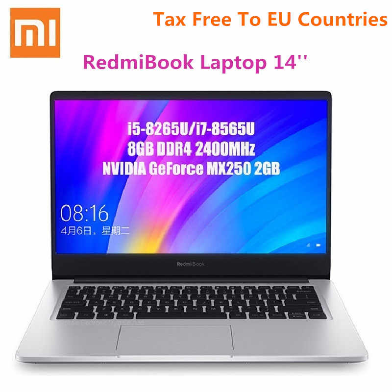 Xiaomi RedmiBook Laptop 14 ''intel core i7-8565U nvidia geforce MX250 czterordzeniowy 8GB RAM 512GB SSD Notebook 1920x1080 (FHD)
