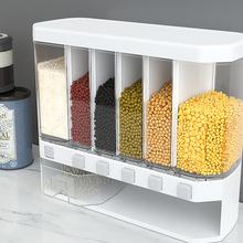 Ścienny oddzielny pojemnik na ryż dyspenser płatków zbożowych odporność na wilgoć plastikowe stojaki automatyczne zamknięte pudełko do przechowywania żywności tanie tanio Spare no effort+ CN (pochodzenie) Different Size SNG026 Ekologiczne Zaopatrzony Rozmaitości Szkło Pokrywa Butelki i słoiki przechowywania