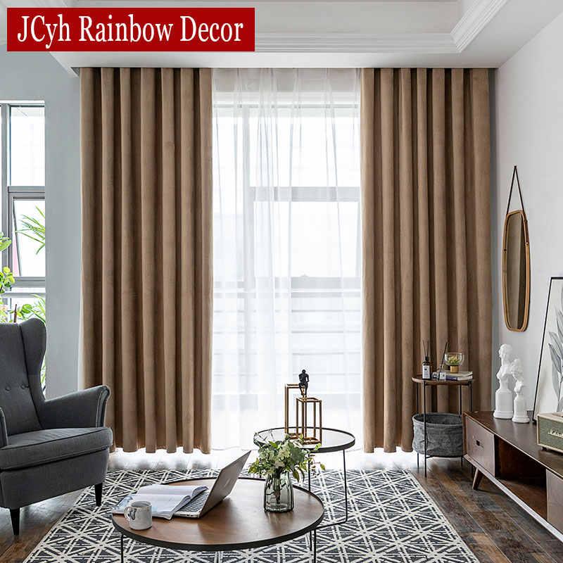 JCyh Feder Vorhänge Für Wohnzimmer Schlafzimmer Moderne Blackout Vorhänge Für Fenster Behandlung Dicke Samt Vorhänge Schattierung 85%