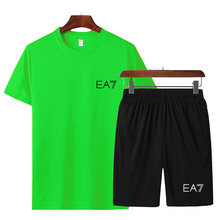 New men's summer leisure suitmen's running suit gym sports suit hot sale quick-drying printed T-shirt + pants two-piece suit