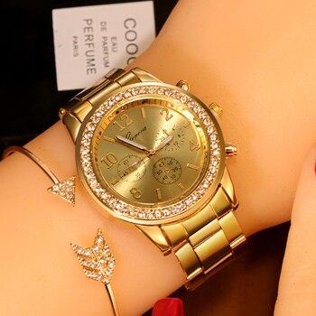 GENEVA Luxury Women Watches 2020 New Stainless Steel Gold Bracelet Watch Women Rhinestone Casual Quartz Wrist Watch reloj mujer