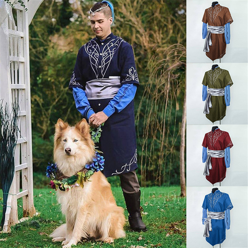 Medieval Vintage Man Shirt Renaissance Middle Age Printed Performance Costumes Men's Retro Knight Viking Cosplay Robe Dress