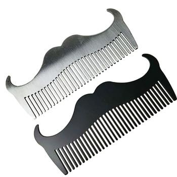 2 uds. Peine de acero inoxidable para hombres, peine para Barba, cepillo de salón, peine para peluquería, peine para pelo con estilo (plateado + negro)
