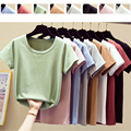 Casual 100% Cotton T-Shirt Women High Elasticity T Shirts Short Sleeve O-Neck Solid Summer Tops Tee Shirt Basic Tshirt Korean