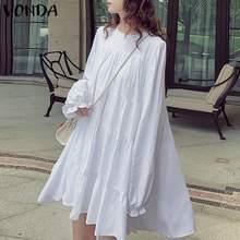 Women's Party Dress 2021 VONDA White Sundress Long Sleeve Knee Length Dresses Bohemian Round Neck Vestidos Plus Size S-5XL