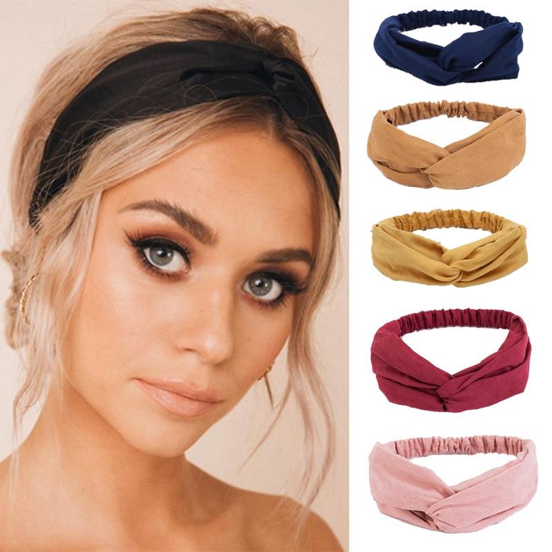 2020 Модные женские повязки для волос, однотонные замшевые повязки на голову, винтажные повязки на голову с перекрестными тюрбанами, повязки ...