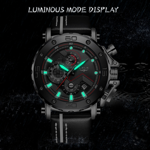 Image 3 - Relogio Masculino Fashion Watches Mens 2019 LIGE Top Luxury Brand Mens Business Leather Military Waterproof Date Dial Big Watch
