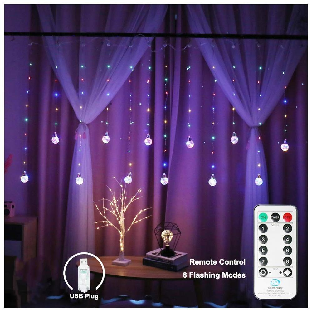 Remote Control Copper Wire Globe Bulb Window Curtain Lights USB Power Wishing Ball Fairy String Light Decor For Bedroom Wedding