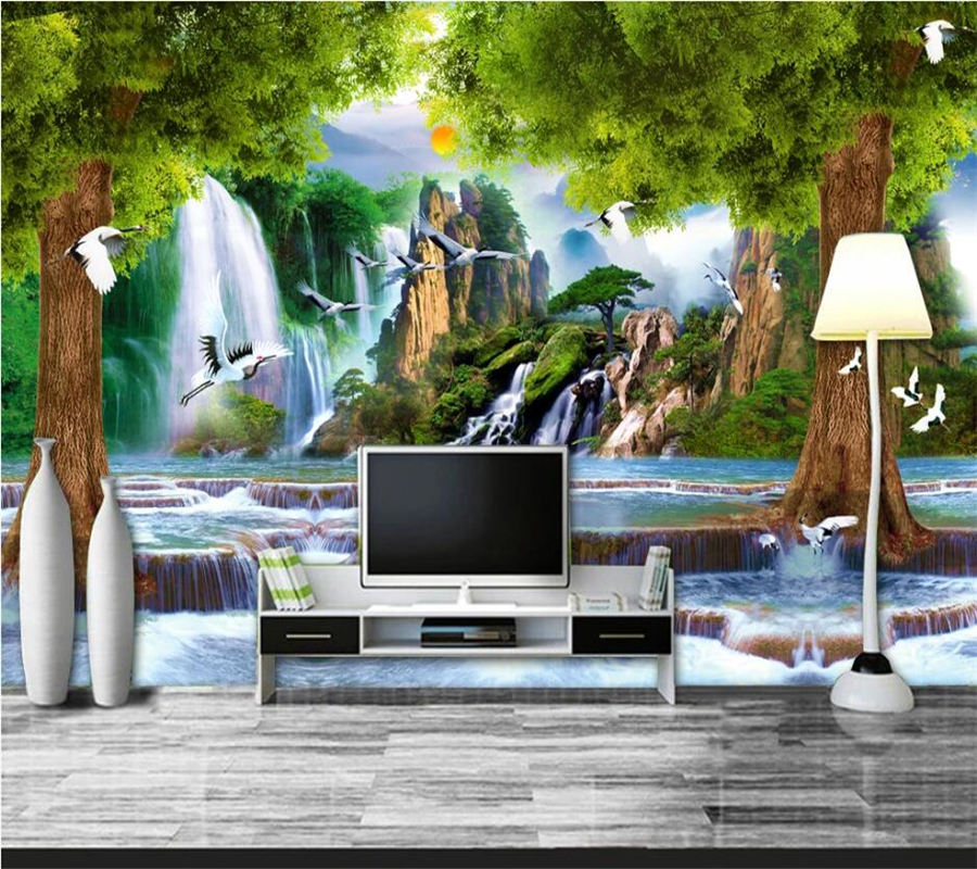 Beibehang Customized large murals, fashion home improvement, water and wealth, big tree scenery, 3D TV, sofa, wall wallpaper Home Improvement