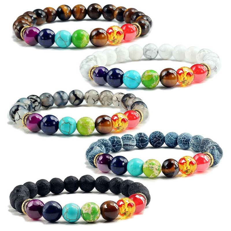 Natural Stone Beads Bracelets for Women Men Chakra Stones Bracelets Indian Yoga Braclets Women's Healthy Stone Beads Jewelry