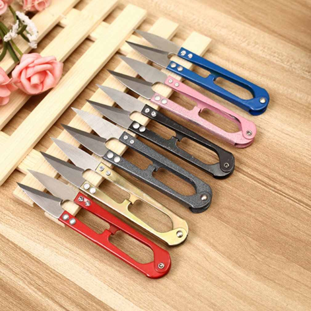 J01 cortador de alambre en forma de U de acero inoxidable, tijeras de hilo casero, tijeras de punto de cruz, tijeras de hilo, pequeño hogar diario