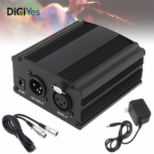 цена на 48V 1-Channel Phantom Power Supply with One XLR Audio Cable for Condenser Microphone Studio Music Voice Recording Equipment
