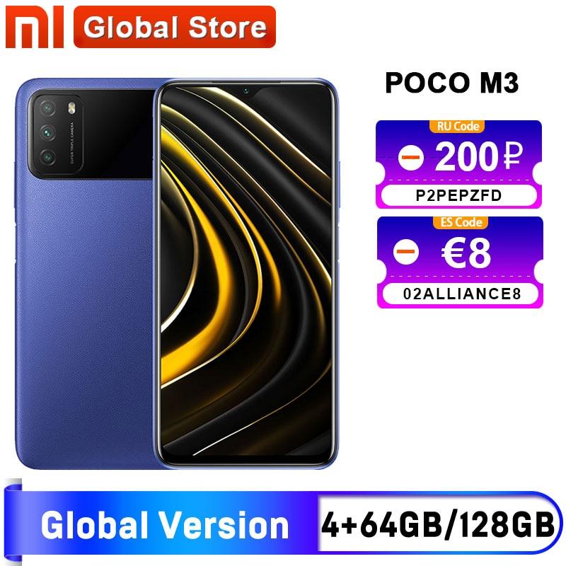 "Spain warehouse Global Version POCO M3 4GB 64GB /4GB 128GB Smartphone Snapdragon 662 6.53"" display 6000mAh battery 48MP Camera"