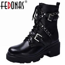 FEDONAS الخريف الشتاء المسامير جلد طبيعي النساء حذاء من الجلد فاسق دراجة نارية الأحذية أحذية الحفلات امرأة مشبك الإناث أحذية بوت قصيرة