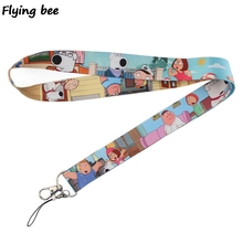 Flyingbee Cartoon funny family guy Keychain Keys Holder Keyring Phone Lanyard Women Strap Neck Lanyards for ID Card X0363