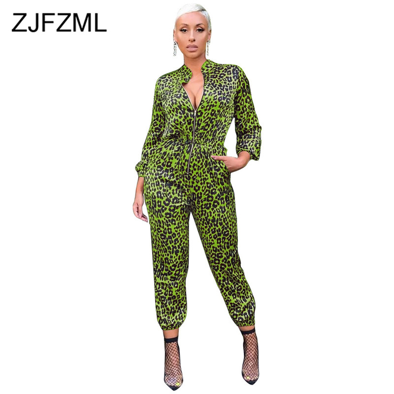 Leopard Zipper Up Sexy Overalls For Women Long Sleeve Slim One Piece Jumpsuit 2019 Autumn High Waist Causal Plus Size Rompers