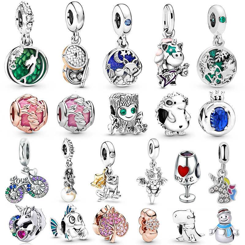 2 Teile/los Meerjungfrau Einhorn Eule Charme Perlen fit Marke Armbänder Halsketten Für Frauen DIY Schmuck Zubehör Dropshipping