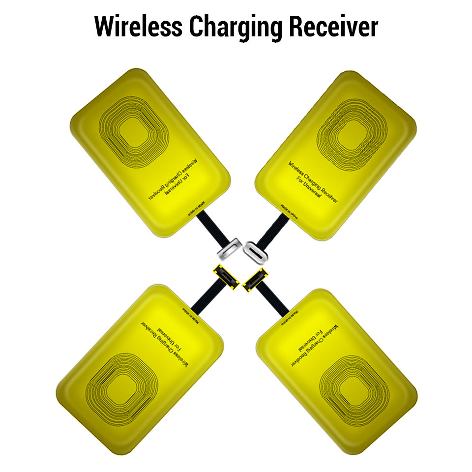 Universal <font><b>Qi</b></font> Wireless Charger Receiver For <font><b>iPhone</b></font> 7 6s <font><b>6</b></font> Plus 5 5C Micro USB Type C Wireless Charging Adapter For Samsung Huawei image