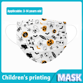 10-200pcs Children Halloween Disposable Face Masks 3-layer Filter Non-woven  Printed Planet Face Mask Kids Earloops Masks