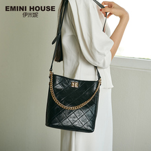 Emini casa cera de óleo diamante treliça balde saco de couro genuíno alça larga bolsa de ombro bolsas de luxo bolsas femininas designer