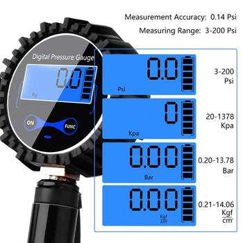 Digital Tire Inflator Pressure Gauge Air Compressor Pump 3-200PSI Quick Connect Coupler For Car Truck Motorcycle