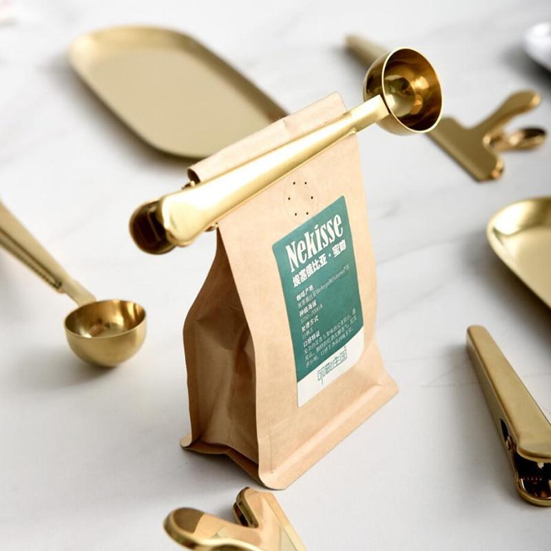 Бытовая прищепка для кофейных ложек «Два в одном», зажим из нержавеющей стали для кофейных ложек, кухонные золотые аксессуары, приемник, пос...