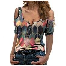 T-shirt imprimé à carreaux pour femmes, manches courtes, col en v, fermeture éclair, épaules dénudées, Style coréen, surdimensionné