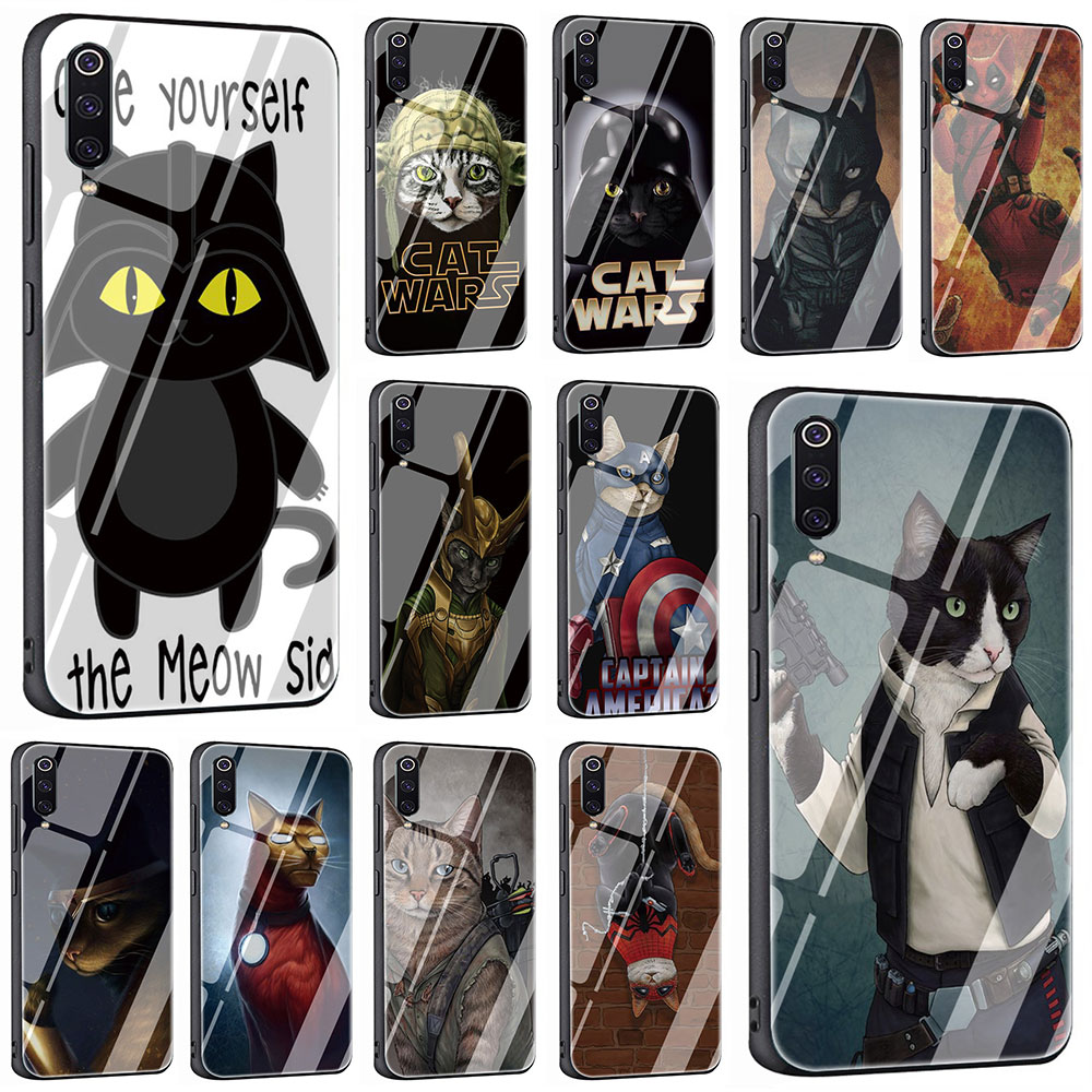EWAU DARTH MEOW <font><b>Star</b></font> <font><b>Wars</b></font> Tempered Glass Phone <font><b>Cover</b></font> Case For <font><b>Xiaomi</b></font> Mi 8 9 <font><b>Redmi</b></font> 4X 6A <font><b>Note</b></font> 5 <font><b>6</b></font> 7 <font><b>Pro</b></font> Pocophone F1 image