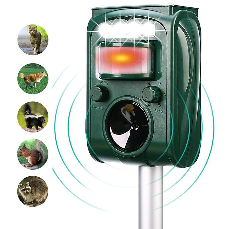 New Repellent Solar Ultrasonic Animal Repeller PIR Sensor Outdoor Garden Pest Mouse Bird Cat Dog Bat Repellent Keep Animals Away