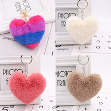 23 colors plush keychain imitation wool rabbit fur fluffy heart-shaped pom-pom ladies backpack pendant gift 10-14cm WJ239(China)