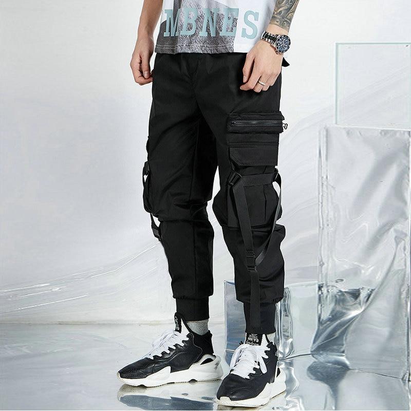 Black Streetwear Harem Joggers Men Ribbons Pockets Cargo Mens Joggers Pants Hip Hop Casual Ankle-length Man Trousers