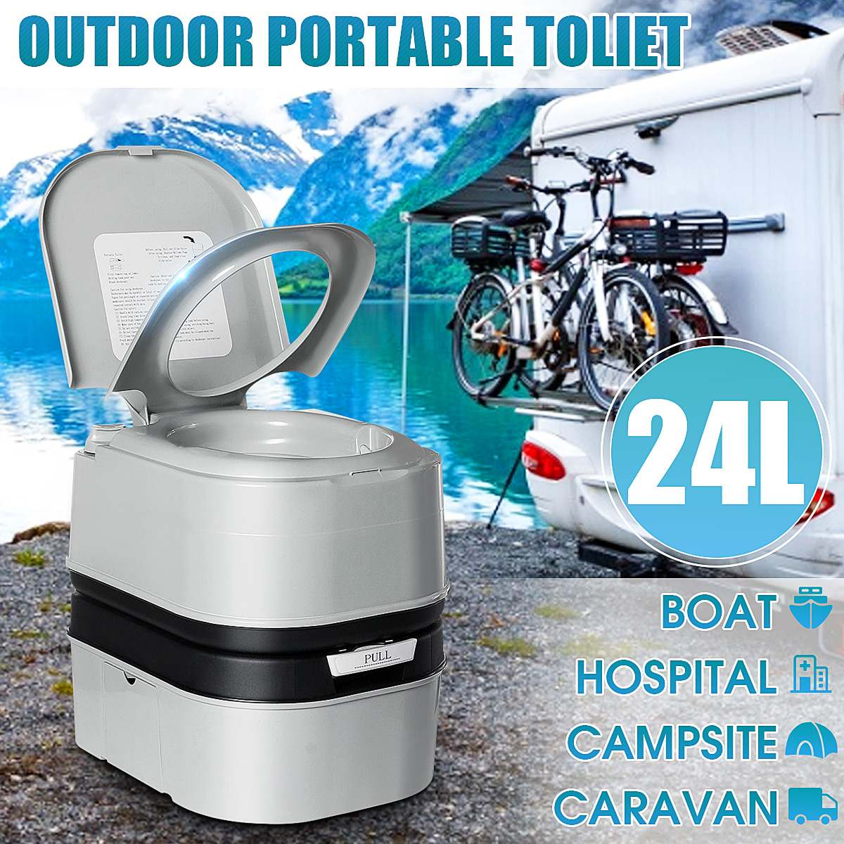 24L Portable Toilet Camping Potty Loo Outdoor Camping Caravan RV Boat Picnic Fishing Festival Accessories Commode Movable Toilet