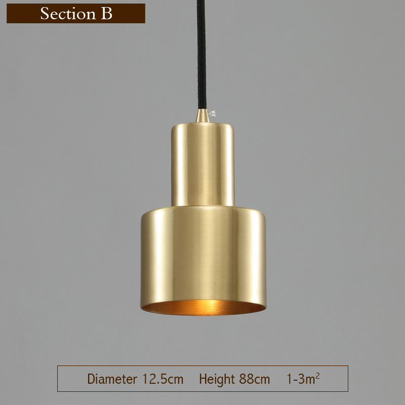 New Modern Gold Pendant Lights Copper Loft Pyramid LED Hanging Lamp Home Indoor Lighting Fixture For