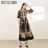 MIUXIMAO High Quailty 2020 Sping Dress Flower Luxurious Embroidery Gauze Half Sleeve Elegant Black Long Dress Women vestidos