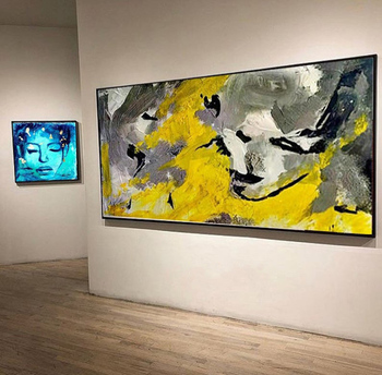 Wide Painting Large Painting On Canvas Oversize Painting Colorful Painting Yellow Painting Abstract Painting Dine Room Wall Art