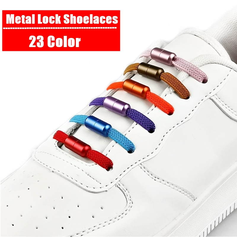 Elastic No Tie Shoelaces Flat Sneakers Shoe Laces For Kids and Adult Quick Lazy Metal Lock Laces Shoe Strings