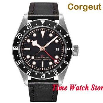 Corgeut 41mm GMT 5ATM automatic wrist watch men luxury sapphire glass leather strap black strile dial luminous waterproof