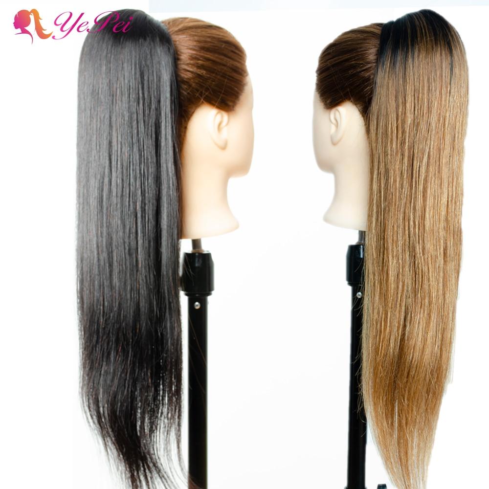 Прямые человеческие волосы на шнурке с хвостиком, бразильские волосы с конским хвостом, волосы Remy на заколках для наращивания с конским хво...