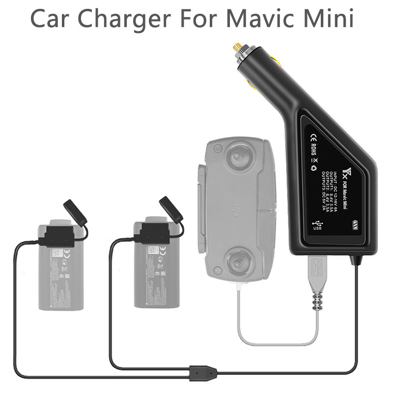 YX 3 In 1 Car Charger For DJI Mavic Mini Intelligent Battery Charging Hub Mavic Mini Car Connector USB Adapter Multi 2 Battery