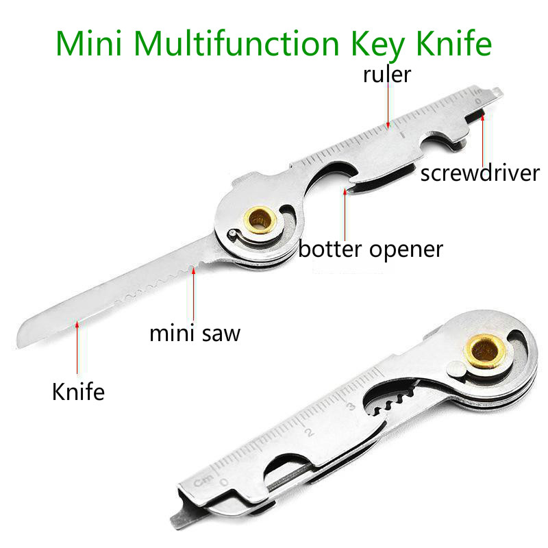 Brand Mini Knife Opener Tool Multipurpose Screwdriver Ring Keychain Pocket Survive Multi Utili Key Tactical Kit Edc Gear Utility image