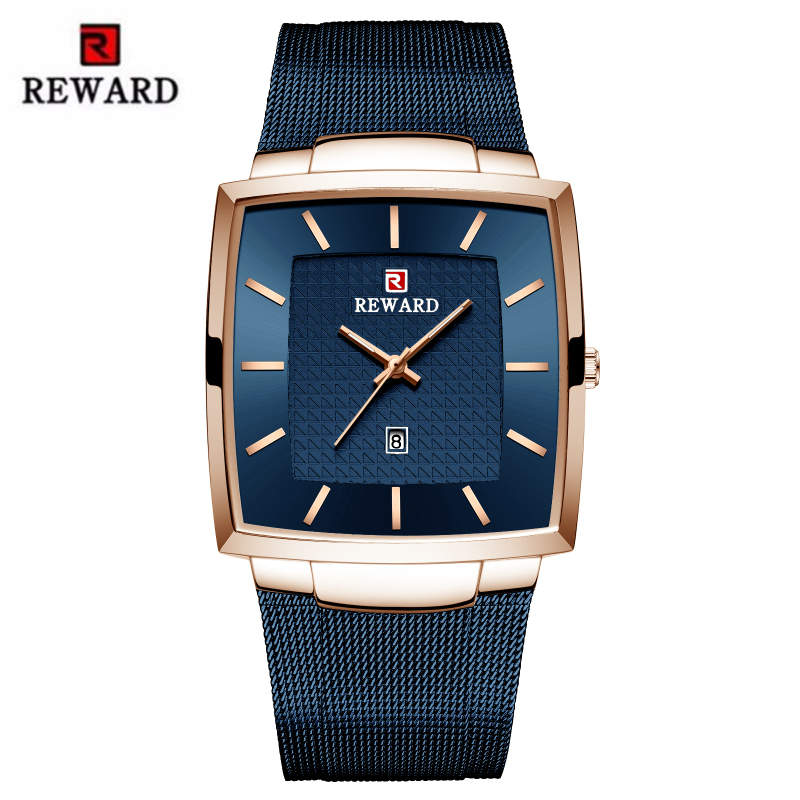 Men's Watch REWARD Top Brand Luxury Business Watches Auto Date Square Dial Waterproof Stainless Steel Male Clock Reloj Hombre
