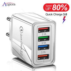 Зарядное устройство USB для быстрой зарядки 3,0, адаптер для телефона для iPhone XR Huawei, планшета, портативное Сетевое зарядное устройство для моби...