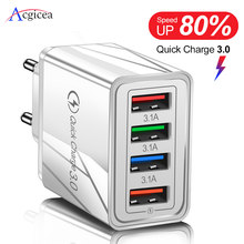 Usb Charger Quick Charge 3.0 Voor Telefoon Adapter Voor Iphone Xr Huawei Tablet Draagbare Eu/Us Plug Muur Mobiele lader Snel Opladen(China)